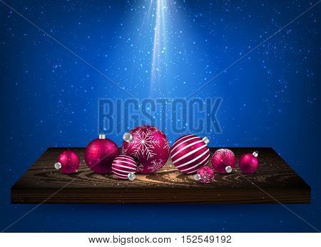 Blue background with Christmas balls on wooden shelf. Vector illustration.