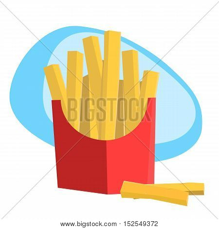 Illustration of french fried potatoes. Fast food.
