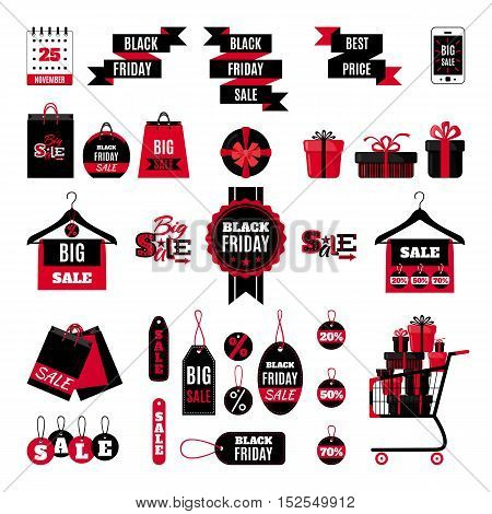 Black friday sale set in flat style isolated on white background. Vector illustration. Black friday design elements. Labels, tags, icons and banners for discount, retail, sales.
