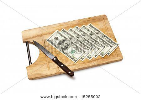 cutting money on board, dollars