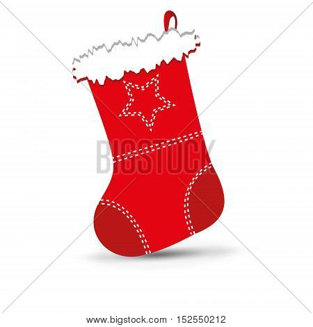 Vector illustration of shiny red Christmas stocking waiting for Santa