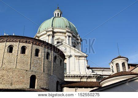 View of two churches in Piazza del Duomo in Brescia in Lombardy - Italy