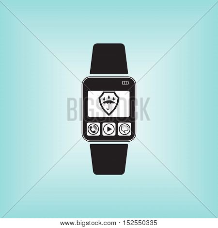 Smart watch vector illustration with water proof symbol.