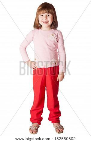 Little Girl wearing pink sweater and red pants standing isolated