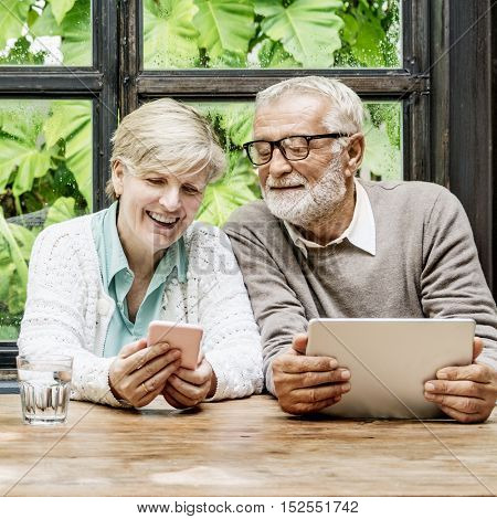 Couple Wife Husband Using Digital Device Concept