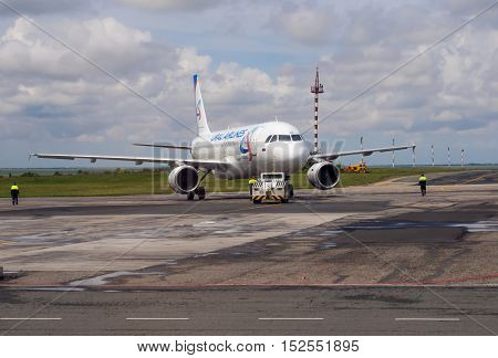 Simferopol, Russia - June 15, 2016: Airplane airline