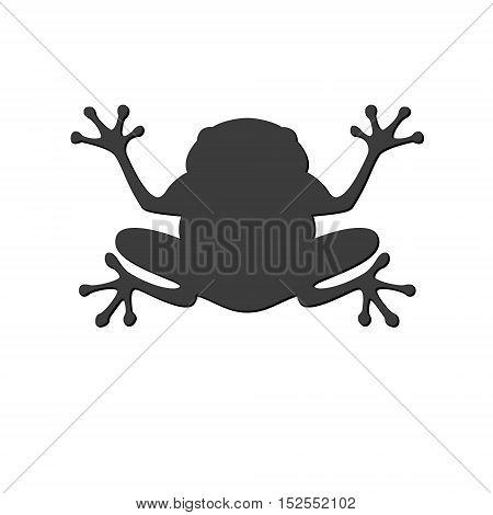 Black frog in flat style. Vector Illustration