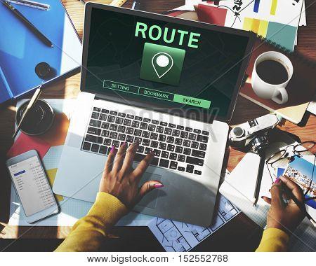Route Destination Location GPS Map Concept