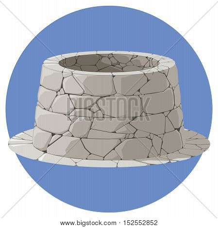 Illustration of a stone well on blue background