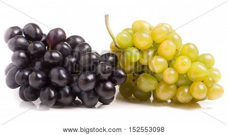 a bunch of green and blue grape isolated on white background.