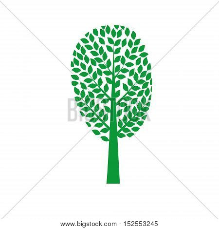 Green tree Isolated On White Background Vector Illustration