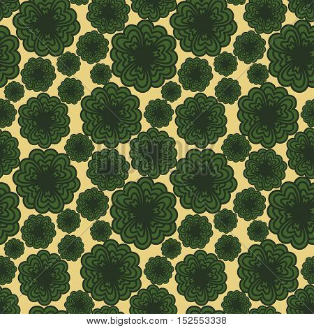 Cute funny background seamless pattern with many repeating stylized green flowers on the yellow canvas fond. Vector illustration eps