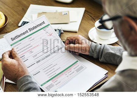Settlement Statement Form Financial Concept