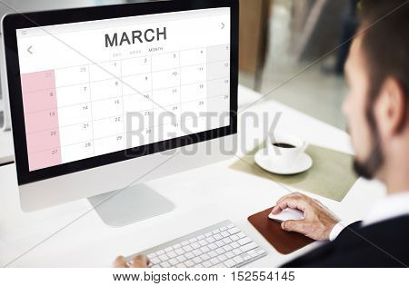 March Monthly Calendar Weekly Date Concept
