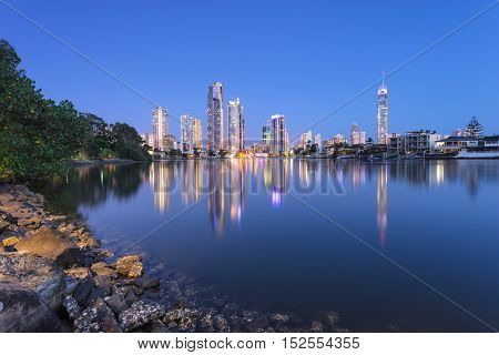 Surfers Paradise skyline at night with reflections