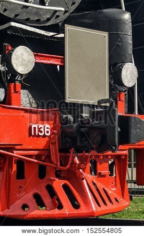 Front locomotive view. Board for inscriptions concept background