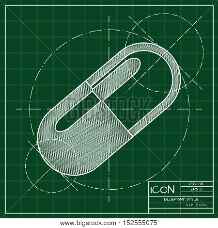 Vector blueprint pill icon . Engineer and architect background.