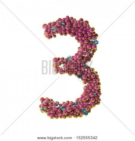 bubbles numbers 3, three, 3d illustration