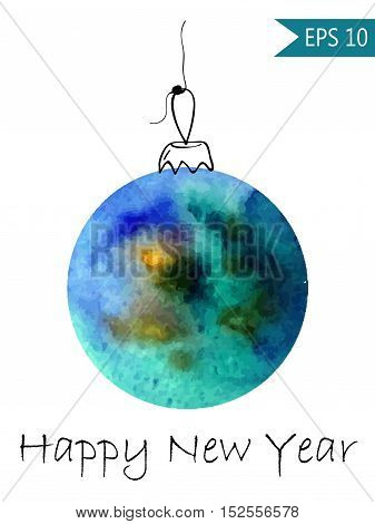 Watercolor christmas bauble Colorful on white background in vector New Year ball round
