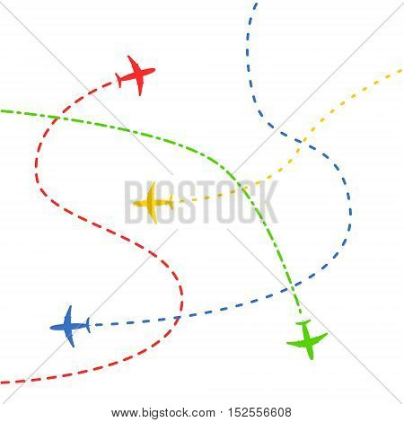 Airplane routes concept background. Vector illustration on white background.
