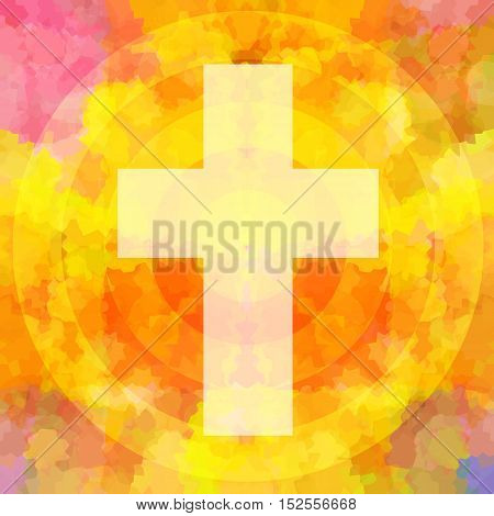 Christian Holy Cross in divine flame background