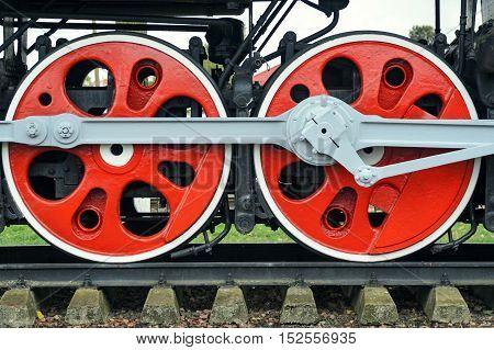 Two Red Big Loco Wheels