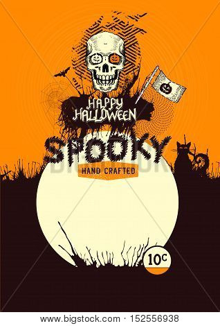Halloween background poster with skulls pumpkins and other spooky elements! Vector illustration.