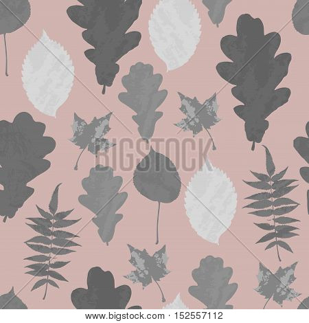 Floral seamless pattern with gray grunge tree leaves on pastel pink background. Maple, Elm, Oak, Aspen textured leaves. Vector illustration.