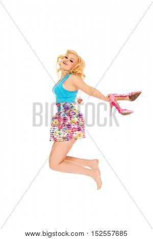 Happy summer woman jumping