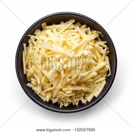 Bowl Of Grated Cheese From Above