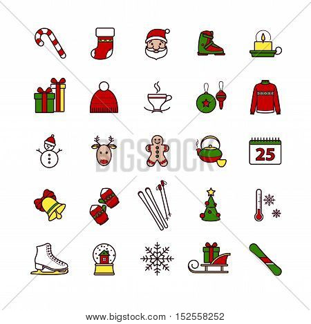 Outline web icons - winter, merry christmas, new year for your design