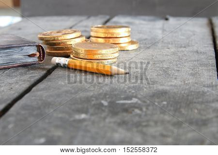 Business plan idea. Pencil with inscription and gold coins.