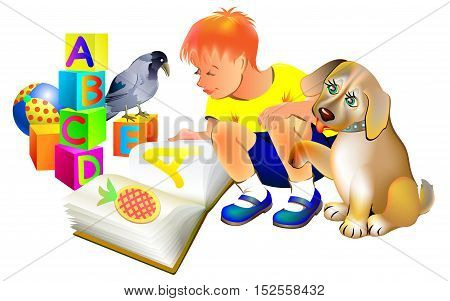 Illustration of boy reading a book with a puppy, vector cartoon image.