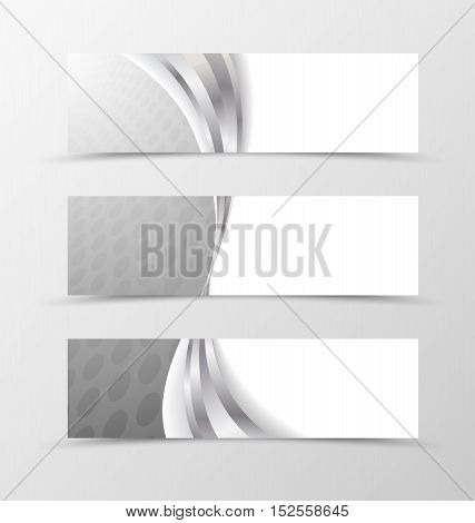 Set of header banner grid design with circle surface in gray colors and wavy style. Vector illustration