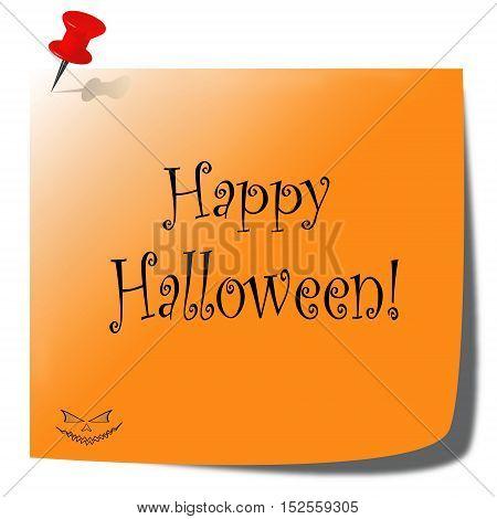 happy Halloween orange paper note - white background