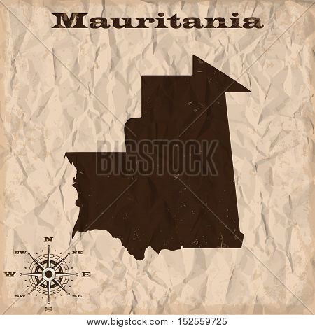 Mauritania old map with grunge and crumpled paper. Vector illustration