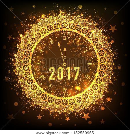 Beautiful golden floral clock showing time just before midnight on stars decorated background. Creative illustration for New Year 2017 celebration.