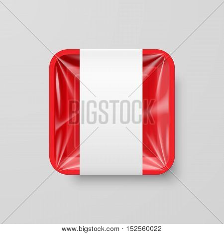 Empty Red Plastic Food Square Container with Label on Gray Background