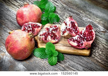 Tasteful, juicy exotic - tropical fruit pomegranate