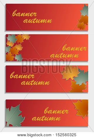 Set Of Horizontal Banners  With 3D Autumn Leaves Isolated On  Background. Stylish Trendy Abstract Wa