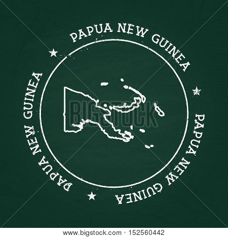 White Chalk Texture Rubber Seal With Independent State Of Papua New Guinea Map On A Green Blackboard