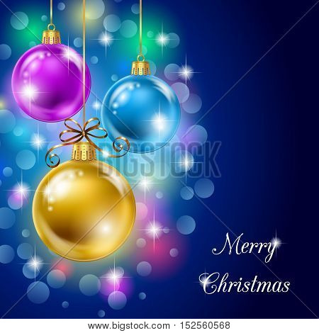 Background with Christmas balls sparks and bokeh lights. Vector illustration