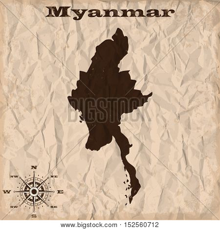 Myanmar old map with grunge and crumpled paper. Vector illustration