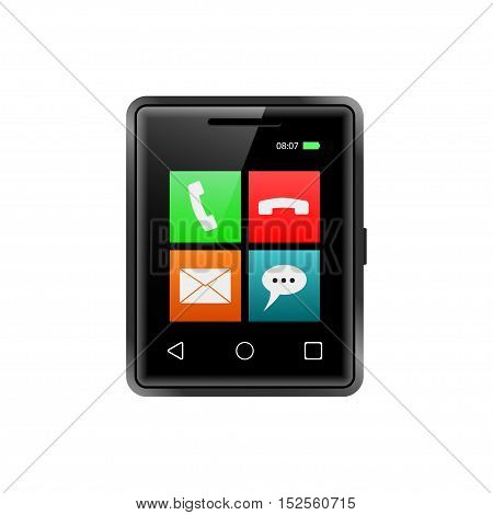 Smallest smartphone with app icons. Little touchscreen phone. Realistic smart phone. Isolated on white. Vector illustration.