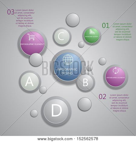 Modern Presentation Panel With Glossy Plastic Buttons And Shiny Lights Banners For Business Design,