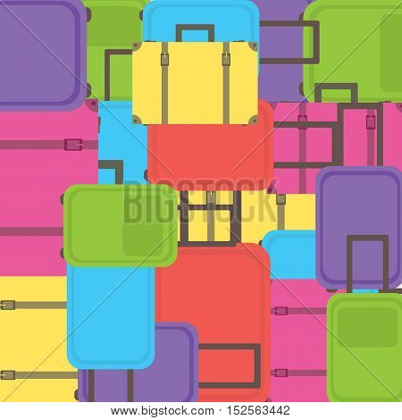 Background with colorful suitcases. Suitcases pattern. Vector illustration.