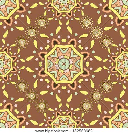Beautiful retro seamless pattern, vintage texture. Arabic, Indian, ottoman motifs. Stylized yellow flowers.