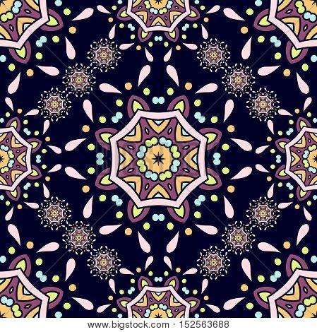 Beautiful retro seamless pattern tile, vintage texture. Vintage decorative elements. Arabic, Indian, ottoman motifs. Flower dark circular background.