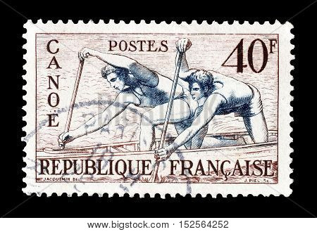 FRANCE - CIRCA 1953 : Cancelled postage stamp printed by France, that shows Canoe racing.