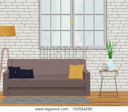 Furniture design. Interior. Sofa with pillows, lamps, window, table, rug